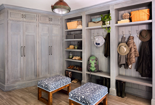 Farmhouse Mudroom with Greywashed Cabinets and wood-looking floor tile. Farmhouse Mudroom with Greywashed Cabinets and wood-looking floor tile #Farmhouse #Mudroom #Farmhousemudroom #GreywashedCabinets #woodfloortile #woodtile Wade Weissmann Architecture