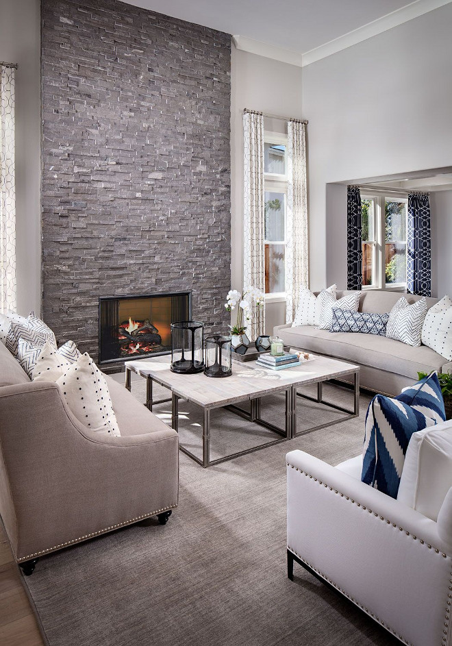 Floor to ceiling fireplace. The fireplace stone is Vermont Ledger Stone. Living room with Floor to ceiling stone fireplace. Floor to ceiling stone fireplace #Floortoceilingstonefireplace #Floortoceilingfireplace #stonefireplace #fireplace #VermontLedger #Stone Tracy Lynn Studio
