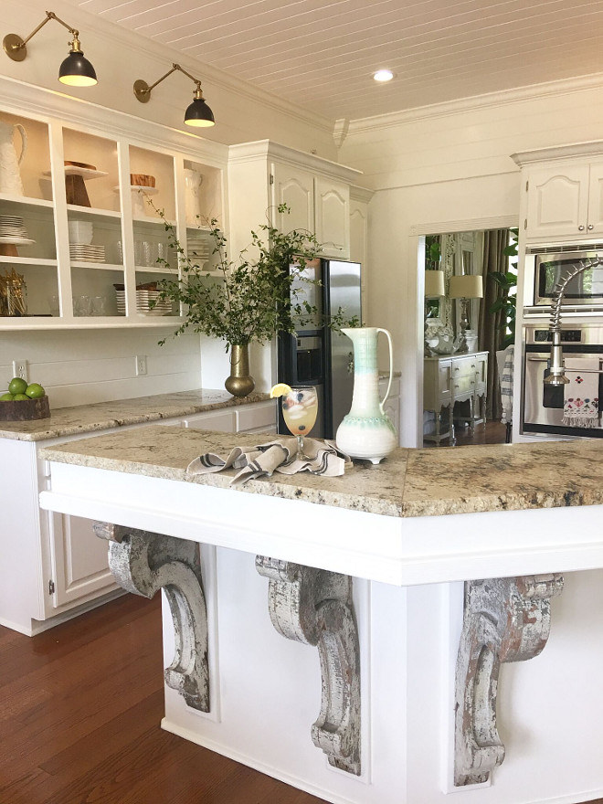 French Country Kitchen Island Corbels. French Country Kitchen Island Corbels. How fabulous are these antique corbels! They were a lucky find! French Country Kitchen Island Corbels. French Country Kitchen Island Corbels #FrenchCountryKitchen #IslandCorbels Beautiful Homes of Instagram @cindimc.ivoryhome