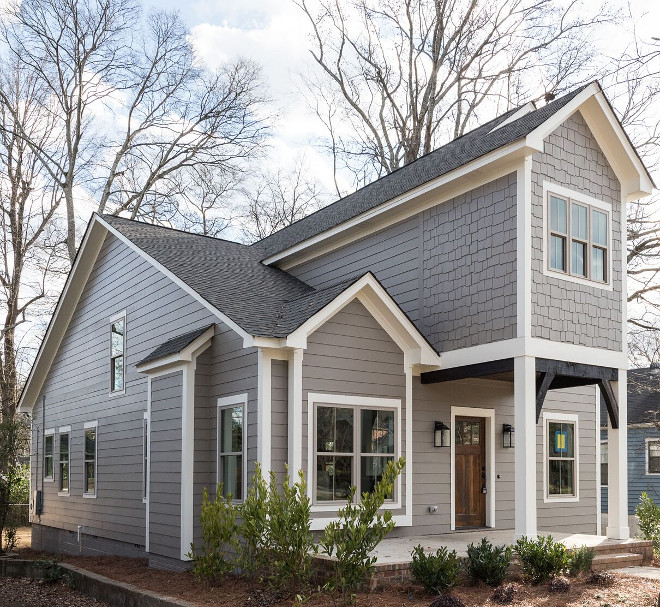 Grey Siding White Trim Paint Color. Grey Siding Paint Color Dovetail Sherwin Williams. White Trim Sherwin Williams SW7010 White Duck #SherwinWilliamsSW7010WhiteDuck #GreySiding #WhiteTrim #PaintColor #Siding #PaintColor #DovetailSherwinWilliams #ExteriorTrim Willow Homes