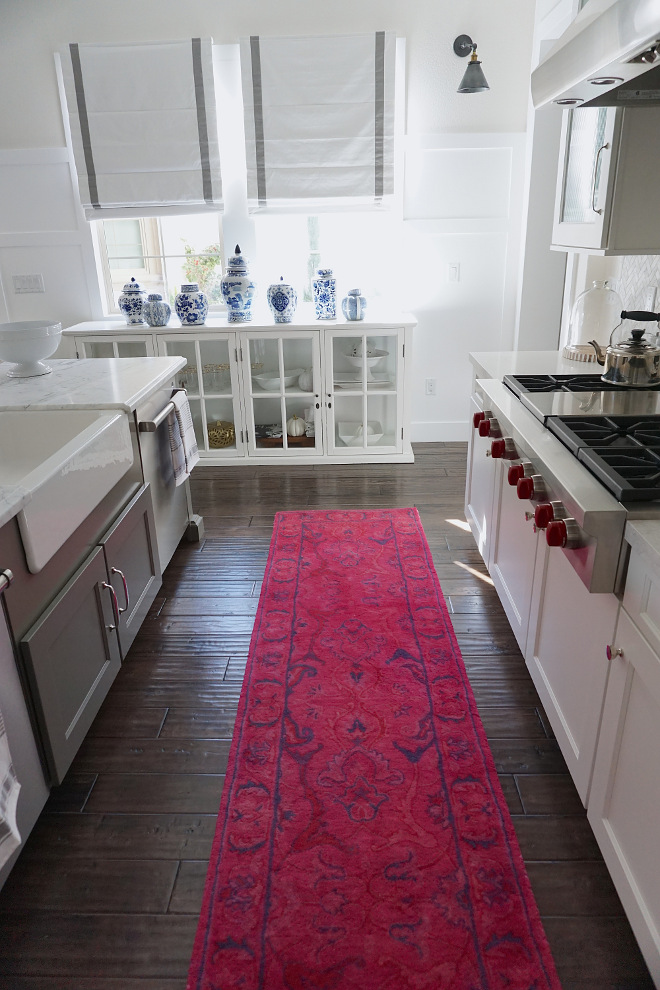 Kitchen Runner. Magenta Kitchen Runner. The runner is from Rug USA - Overdye RE31 Leaflet Fountain Rug Pink - Style # 200SPRE31A - Tufted 100% wool rug. Kitchen Runner. Magenta Kitchen Runner #KitchenRunner #Kitchen #Runner #Magenta #MagentaRunner Beautiful Homes of Instagram @MyHouseOfFour