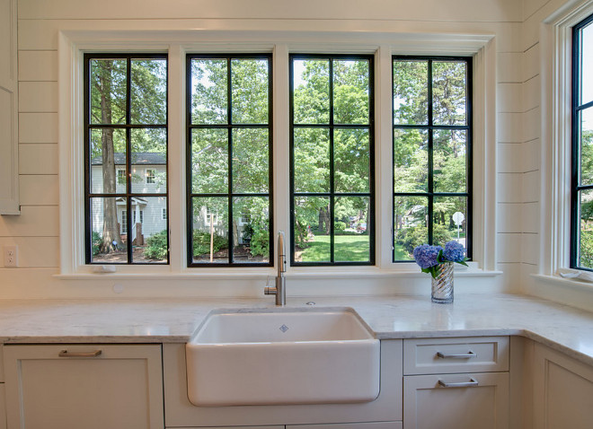 Kitchen window. Kitchen black framed windows, shiplap backsplash and farmhouse sink. Kitchen window. Kitchen Black paned windows with shiplap backsplash and farmhouse sink #Kitchenwindow #Kitchenwindows #Kitchen #Blackpanedwindows #kitchenBlackpanedwindows #shiplap #backsplash #shiplapbacksplash #farmhousesink #blackframedwindows Tammy Coulter Design - Grandfather Homes