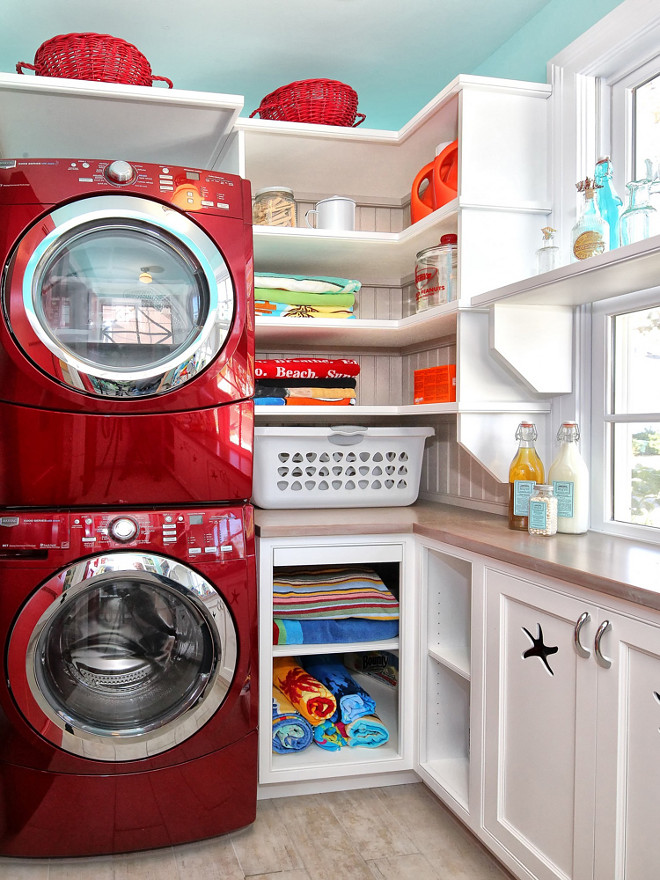 Laundry Room. Small laundry room stacked washer and dryer. Small cottage laundry room with stacked washer and dryer #Smalllaundryroom #laundryroom #stackedwasherdryer Knight Architects LLC.