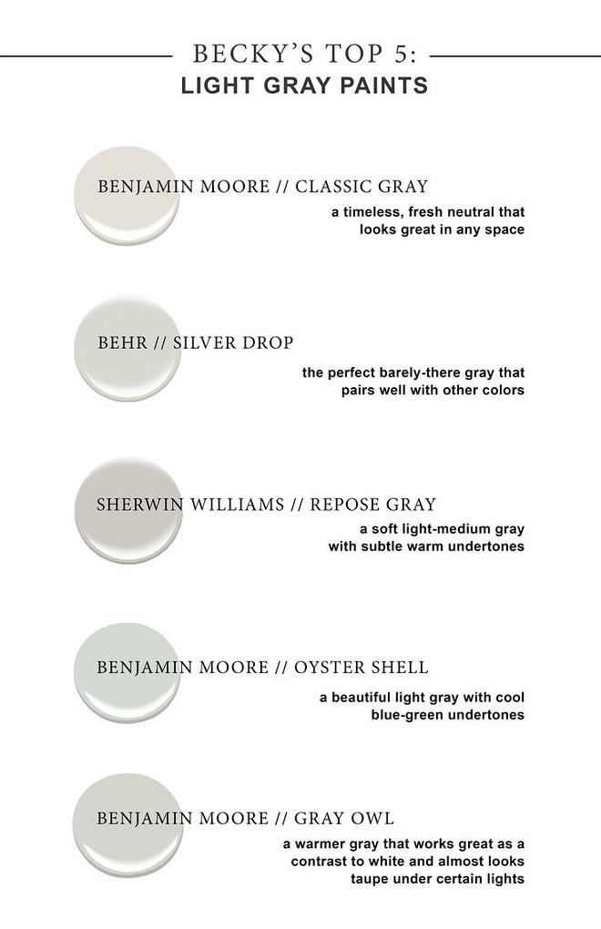 Light Gray Paint Colors Benjamin Moore Clic Behr Silver Drop Sherwin Williams