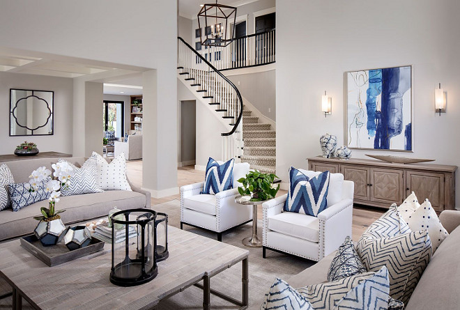 Living room color palette. Neutrals and blue and white Living room color palette ideas. Living room color palette. Living room color palette #Livingroom #colorpalette #livingroomneutrals #neutrals #blueandwhite Tracy Lynn Studio