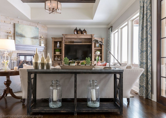 Living room console table. Sofa table. Living room sofa table. Console with bluestone top by Classic Home Furnishings #consoletable #livingroom #sofatable Restyle Design, LLC.