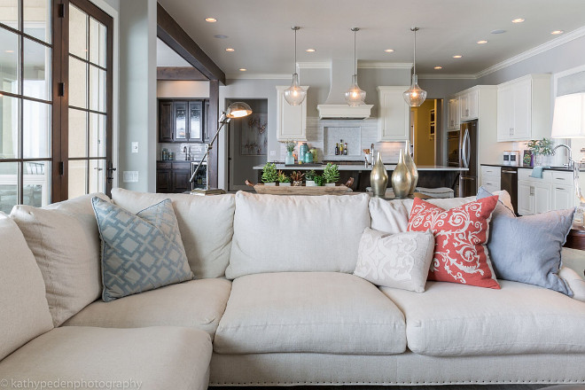 Living room open concept. Living room open concept ideas. A sectional in linen by Lee Industries anchors the space. Living room open concept. Living room open concept. Living room open concept #Livingroomopenconcept #Livingroom #openconcept Restyle Design, LLC.