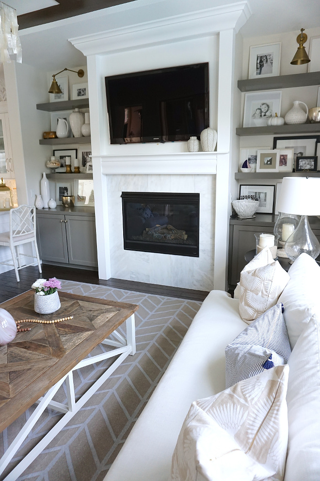 Marble Fireplace Surround. White Marble Fireplace Surround with Grey Cabinets. White Marble Fireplace Surround. #MarbleFireplace #MarbleFireplaceSurround #WhiteMarbleFireplaceSurround Beautiful Homes of Instagram @MyHouseOfFour