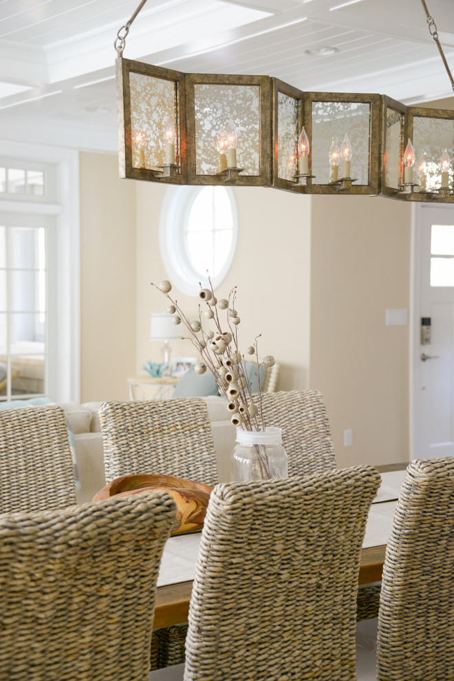 Mercury Glass Chandelier. This 8-light linear mercury glass chandelier brings some warmth and elegance to the space. Dining room Mercury Glass Chandelier. Mercury Glass Chandelier. Mercury Glass Chandelier #MercuryGlassChandelier #MercuryGlass #Chandelier Echelon Custom Homes
