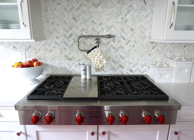 Mini Herringbone marble tile backsplash. The kitchen backsplash is 1x3 Calacatta Gold Marble in herringbone. Kitchen Mini Herringbone marble tile backsplash. Mini Herringbone marble tile backsplash. Mini Herringbone marble tile backsplash. Mini Herringbone marble tile backsplash #MiniHerringboneTile #MiniHerringbonemarble #Herringbonetilebacksplash Beautiful Homes of Instagram @MyHouseOfFour