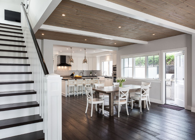Modern farmhouse interiors. California Modern farmhouse. California Modern farmhouse with dark hardwood flooring and knotty pine shiplap ceiling #CaliforniaModernfarmhouse #CaliforniaModernfarmhouseinteriors #Modernfarmhouseinteriors #Modernfarmhouse #darkhardwoodflooring #knottypineshiplap #shiplap #shiplapceiling Eric Aust Architect