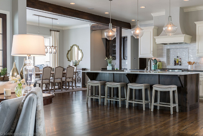 Dark Wood Floors Living Room Furniture Open Concept