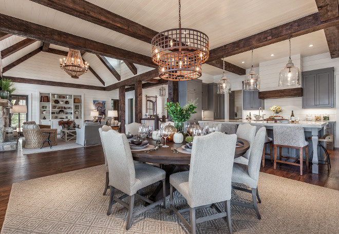 Open floor plan kitchen, breakfast room and family room with exposed beams and tongue and groove ceilings. Open floor plan kitchen, breakfast room and family room with exposed beams and tongue and groove ceilings #Openfloorplan #Openfloorplankitchen #Openfloorplanbreakfastroom #Openfloorplanfamilyroom #exposedbeams #tongueandgroove #ceilings