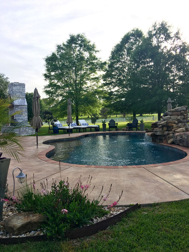 Pool Landscaping Ideas. Pool Landscaping Ideas. Our pool is a salt water gunite pool. Pool Landscaping Ideas. Pool Landscaping Ideas. Pool Landscaping Ideas. #Pool #Landscaping Beautiful Homes of Instagram @cindimc.ivoryhome