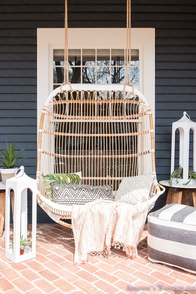 Rattan Porch Swing. Rattan Porch Swing Ideas. Rattan Porch Swing. Rattan Porch Swing #RattanPorchSwing #RattanSwing #PorchSwing Home Bunch's Beautiful Homes of Instagram @addisonswonderland