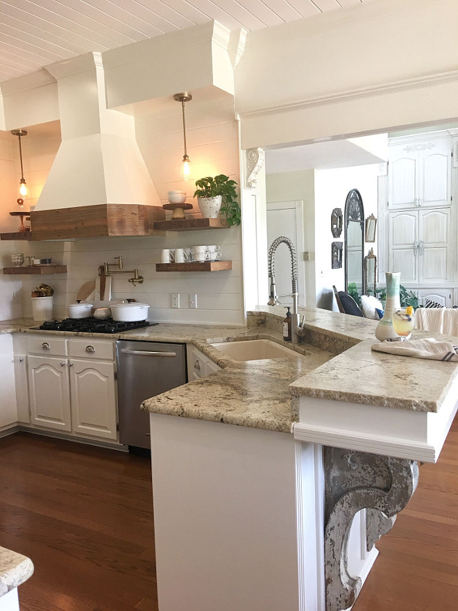 Renovated Kitchen with New Hood and Floating Shelves. The granite is called Beige Spring with leather finish with a chiseled edge. How to refresh your kitchen without breaking the bank ideas. Kitchen Reno. Renovated Kitchen with New Hood and Floating Shelves #Kitchenreno #RenovatedKitchen #hood #FloatingShelves Beautiful Homes of Instagram @cindimc.ivoryhome