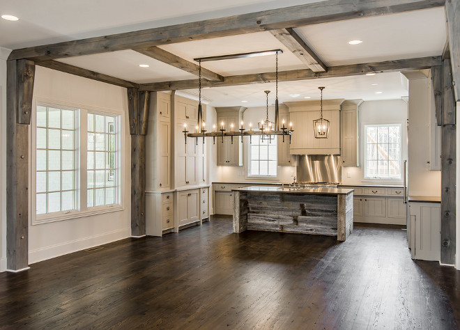 Rustic Kitchen with Greywashed Beams and barnwood island. Beautiful and spacious Rustic Kitchen with Greywashed Beams and barnwood island ideas #RusticKitchen #GreywashedBeams #beams #barnwoodisland #RusticKitchen #Greywashedwood #Beams #barnwood Vintage South Development