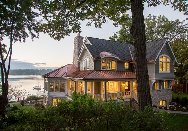 Shingle Beach House with Copper Roof. Grey Shingle Beach House with Copper Roof. Shingle Beach House with Copper Roof Ideas #ShingleBeachHouse #ShingleHouse #CopperRoof Lake Geneva Architects