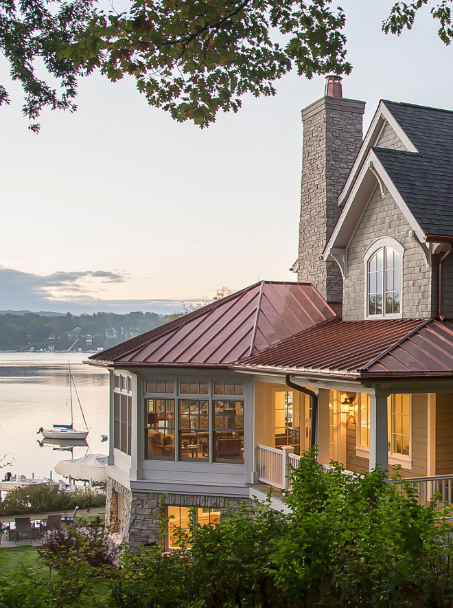 Copper Roof. Shingle Home with Copper Roof. Notice the copper roofing beautifully contrasting with the grey shingles and natural stone. Shingle Home with Copper Roof ideas. Shingle Home with Copper Roof. Shingle Home with Copper Roof #ShingleHome #CopperRoof Lake Geneva Architects