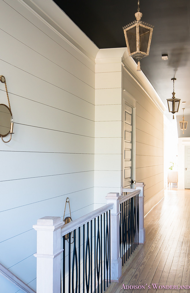 Shiplap Hallway. Shiplap Staircase hallway. Shiplap brings charm to the staircase and hallway. Colors: Shiplap Walls: Alabaster by SW, Ceiling- Inkwell by SW. Shiplap Hallway. Shiplap Staircase hallway. Shiplap Hallway. Shiplap Staircase hallway #ShiplapHallway #Shiplap #Staircase #hallway Home Bunch's Beautiful Homes of Instagram @addisonswonderland