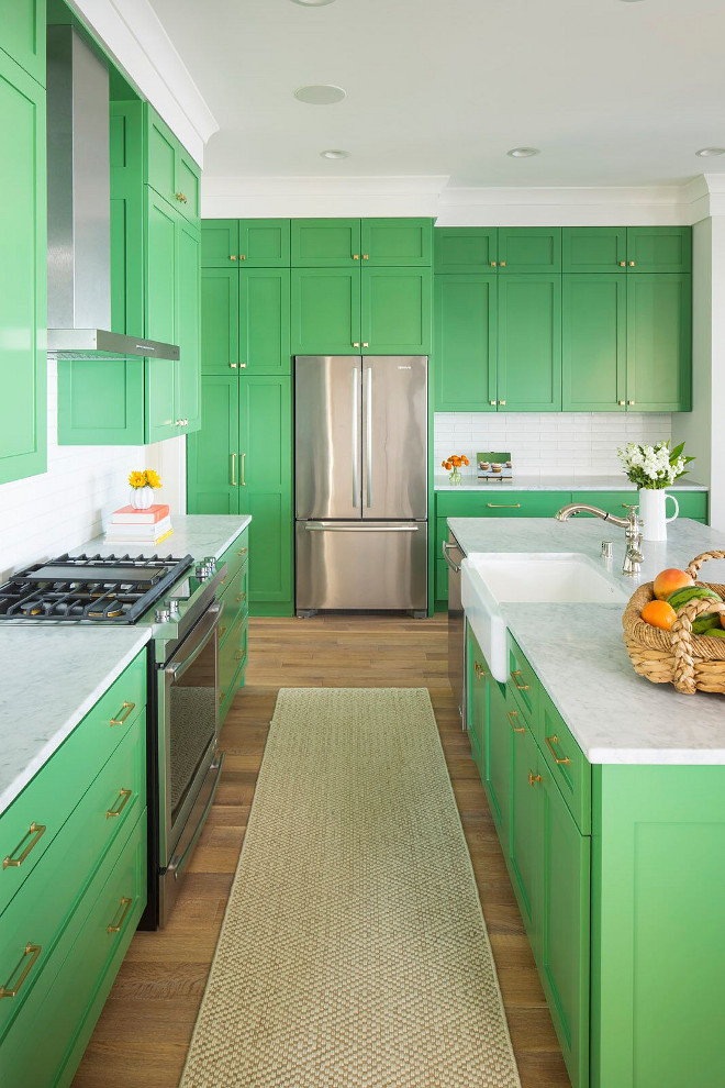 Stacked Kitchen Cabinet. Green Stacked Kitchen Cabinet. Stacked Kitchen Cabinet Ideas. Kitchen cabinet hardware are Millennium Pull in a satin brass finish; and Manhattan Knob in satin brass finish. #StackedKitchenCabinet #GreenKitchenCabinet #StackedKitchenCabinet #StackedKitchenCabinetIdeas Martha O'Hara Interiors