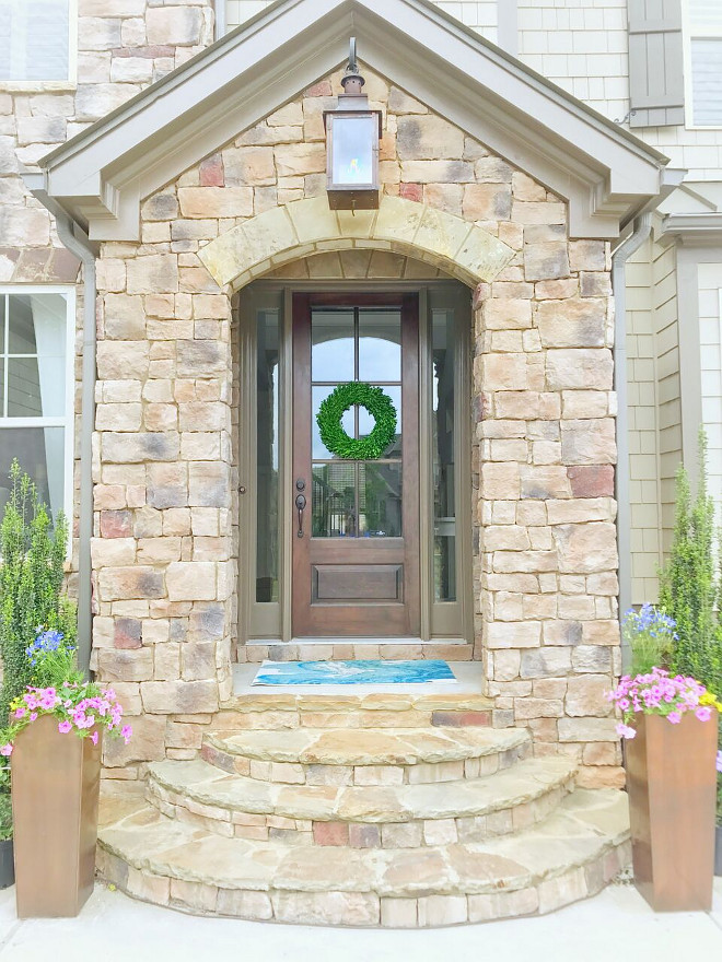 Stone Exterior Color. Most of our front elevation is stone. We chose a copper gas lantern for the entry. Tall copper planters. Stone Exterior Color. Stone Exterior Color Ideas #StoneExterior #StoneExteriorColor Beautiful Homes of Instagram @sugarcolorinteriors