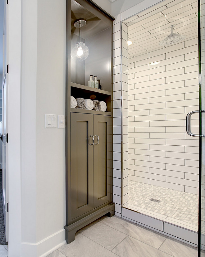 Storage Cabinet by Shower. Bathroom Storage Cabinet by Shower - perfect to storage soaps, shampoos and towels. Great Bathroom Design Ideas Bathroom Storage Cabinet by Shower #StorageCabinet #Showercabinet #BathroomCabinet #Shower #BathroomDesignIdeas #BathroomStorage #BathroomCabinetry #Shower CVI Design