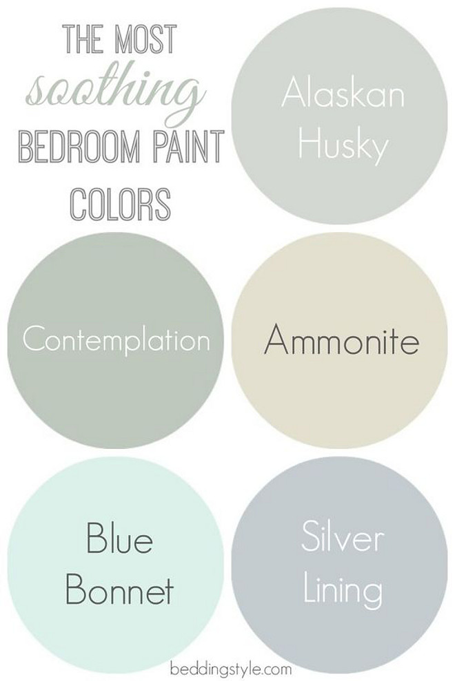 The most soothing bedroom paint colors. Alaskan Husky 1479 Benjamin Moore. Contemplation Behr. Ammonite Farrow and Ball. Blue Bonnet Benjamin Moore. Silver Lining Benjamin Moore. #bedroompaintcolors #soothingpaintcolors #AlaskanHusky1479BenjaminMoore #ContemplationBehr #AmmoniteFarrowandBall #BlueBonnetBenjaminMoore #SilverLiningBenjaminMoore Via Bedding Style