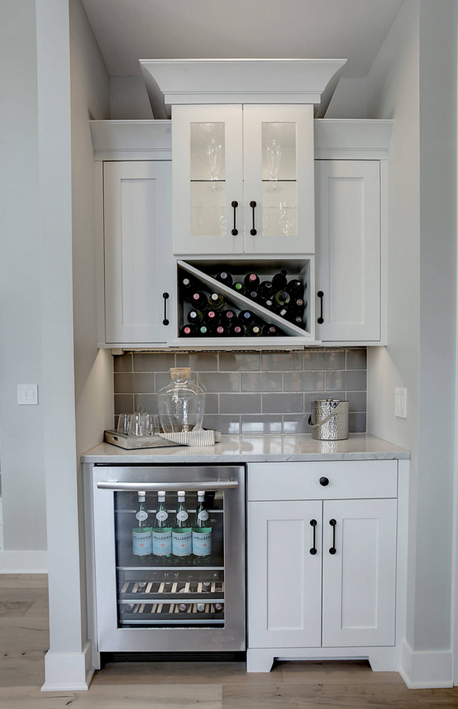 Wet Bar Cabinet. Wet bar kitchen off dining room. Wet bar with grey subwayt tile backsplash. Wet bar kitchen cabinet. Wet bar #WetBarCabinet #Wetbar #kitchen #diningroom #Wetbarbacksplash #subwayttile #backsplash #kitchenWetbar #Wetbar CVI Design