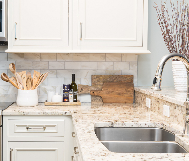 White Granite. White and beige granite countertop. Beige Spring Granite. Countertop is Beige Spring Granite. - granite is one of the most affordable stones and it's also a very durable countertop option. Worth every penny! #BeigeSpringGranite #WhiteGranite #GraniteCountertop #beigegranite #BeigeSpringGranite Karr Bick
