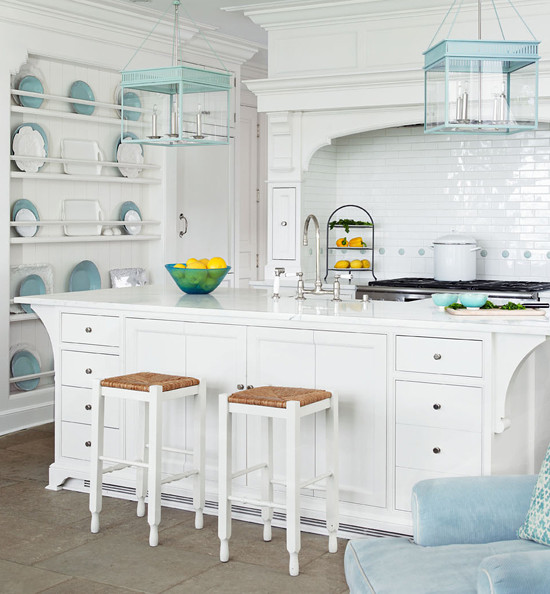 White and turquoise kitchen. kitchen with Urban Electric lanterns