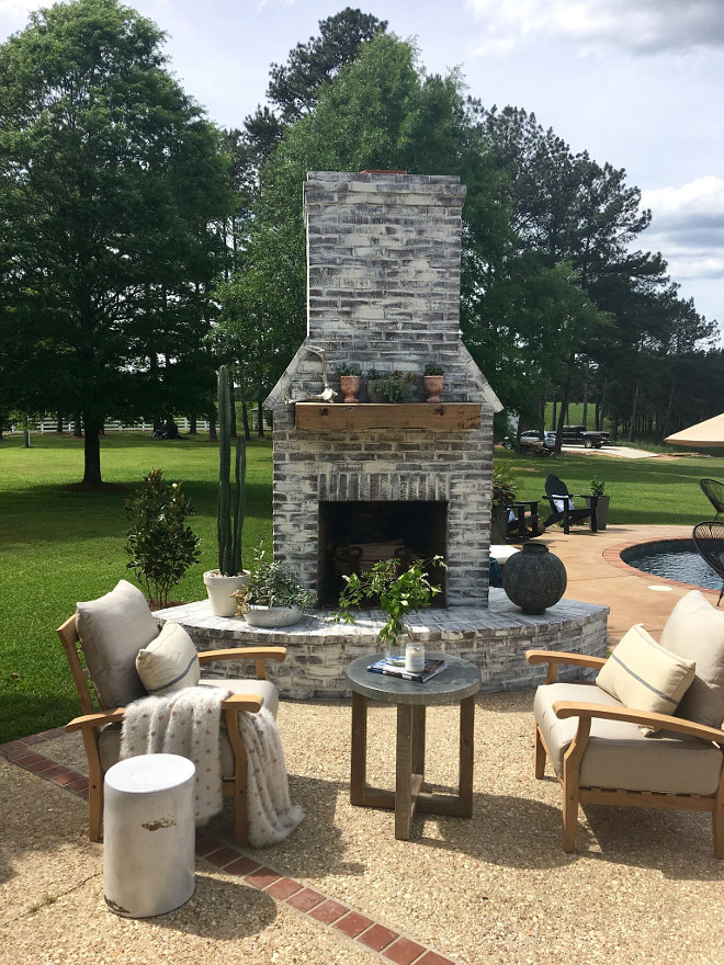 Whitewashed Outdoor Brick Fireplace. Whitewashed Outdoor Brick Fireplace. Chairs are from Joss and Main, pillows are Pottery Barn. Whitewashed Outdoor Brick Fireplace. Whitewashed Outdoor Brick Fireplace. Whitewashed Outdoor Brick Fireplace #WhitewashedOutdoorBrickFireplace #OutdoorBrickFireplace #WhitewashedBrickFireplace Beautiful Homes of Instagram @cindimc.ivoryhome