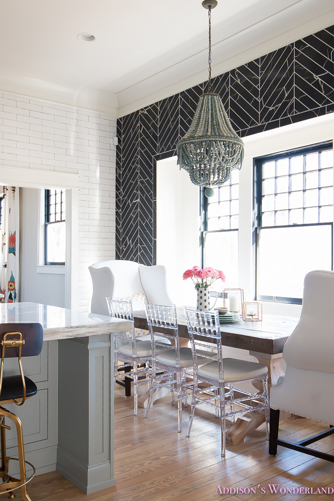 breakfast-room-black-chevron-wall-tile-white-wingback-dining-chairs-wood-table-clear-lucite-chairs-powder-blue-cabinets Beautiful Homes of Instagram @addisonswonderland