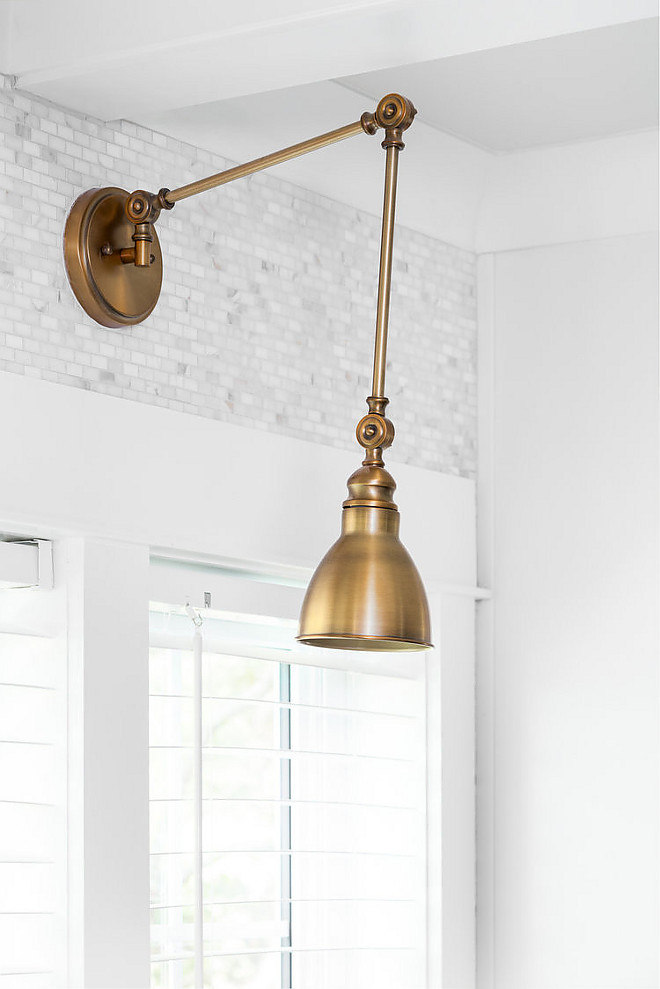Adjustable Arm 1-Light Wall Sconce. Window sconce is Savoy House Dakota 1-Light Adjustable Wall Lamp in Warm Brass - $96 each Kitchen Sconce Adjustable Arm 1-Light Wall Sconce. Kitchen window sconce Adjustable Arm 1-Light Wall Sconce #kitchensconce #kitchenwindowlighting #kitchenwindowsconce #windowsconce #windowlighting #AdjustableArm1LightWallSconce Willow Homes