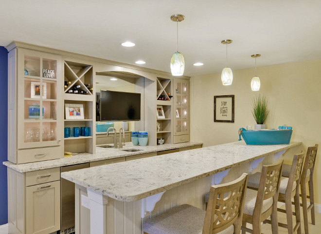 Basement Bar countertop. Basement Bar countertop Cashmere carrara quartz. Quartz Basement Bar countertop Cashmere carrara quartz #Cashmerecarraraquartz #carraraquartz #BasementBarcountertop #Barcountertop #quartzBarcountertop Echelon Custom Homes