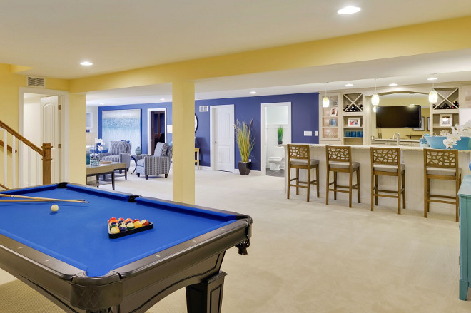 Basement Layout. Basement with bar, games room and media room layout ideas. Open basement layout. #BasementLayout #Basement #bar #gamesoom #mediaroom #basementlayoutideas #Openbasementlayout Echelon Custom Homes