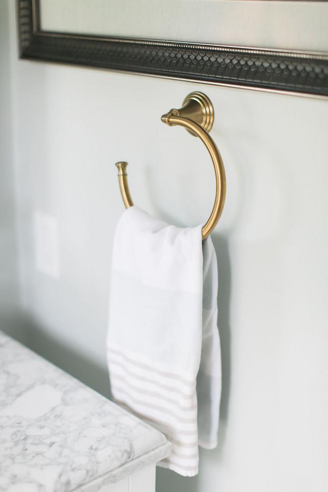 Bathroom Brass Towel Ring. Bathroom Brass Towel Ring. Bathroom Brass Towel Ring. The hardware is from Kohler.  #Bathroom #Brass #TowelRing Home Bunch Beautiful Homes of Instagram @finding__lovely