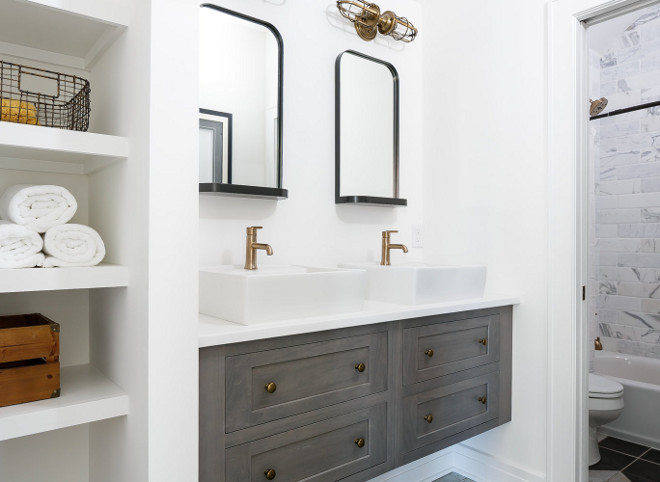 Bathroom Floating Vanity and Storage Niche. Bathroom Floating Vanity and Storage Niche Ideas. Bathroom Floating Vanity and Storage Niche #Bathroom #FloatingVanity #StorageNiche #wallniche #bathroomniche #niche Ramage Company. Leslie Cotter Interiors, LLC