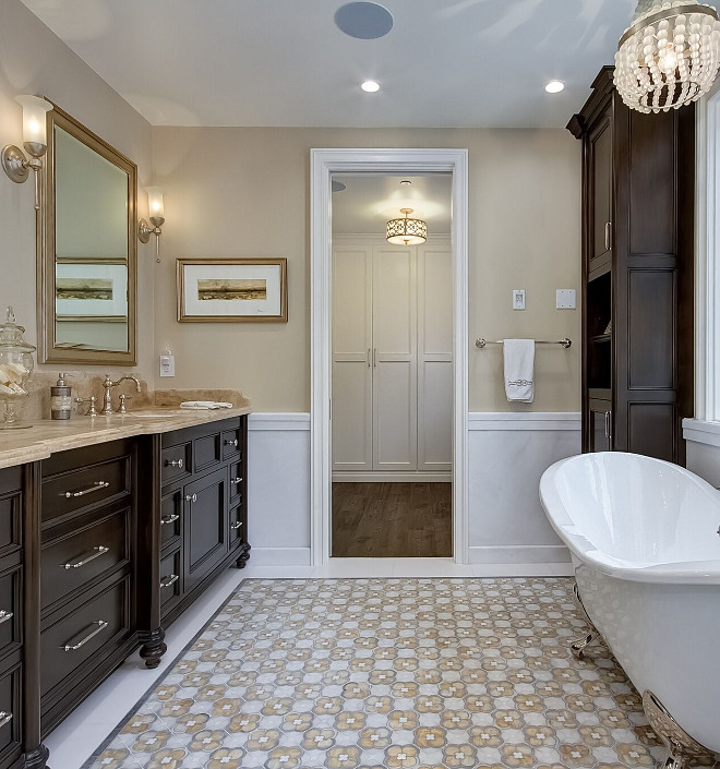 Bathroom Flooring. The master floor was a custom made mosaic floor combining blue /grey marble, white marble and a version of Calcutta marble. Bathroom Flooring. Bathroom Flooring. Bathroom Flooring. Bathroom Flooring. Bathroom Flooring #BathroomFlooring Brandon Architects, Inc.