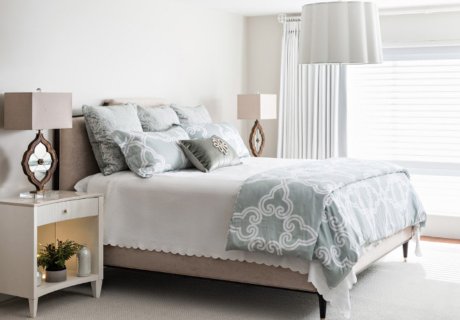 Bedding. Neutral bedding. Soothing Master Bedroom Bedding #bedding Casabella Interiors