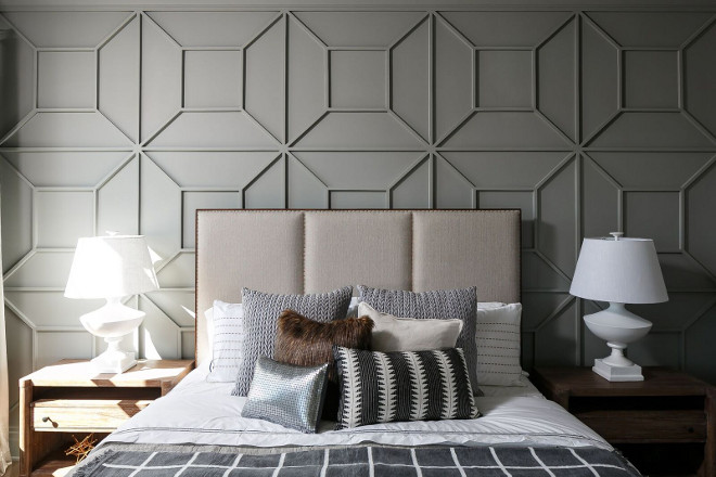 Bedroom Paneling. Bedroom wall paneling. The wall paneling is a custom design in applied moulding. Bedroom paneling ideas. Bedroom Paneling. Bedroom accent wall paneling. Bedroom paneling ideas #BedroomPaneling #Bedroom #wallpaneling #Bedroompanelingideas #BedroomPaneling #Bedroom #accentwallpaneling #Bedroompanelingideas Ramage Company. Leslie Cotter Interiors, LLC
