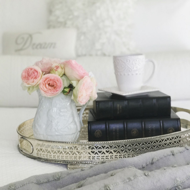 Bedroom Tray Decor Ideas. Guest Bedroom Tray Decor. A vintage silver tray with fresh flowers and books make this guest bedroom feel extra welcoming. #Bedroom #TrayDecor #BedroomtrayIdeas #GuestBedroomTrayDecor Beautiful Homes of Instagram @SanctuaryHomeDecor