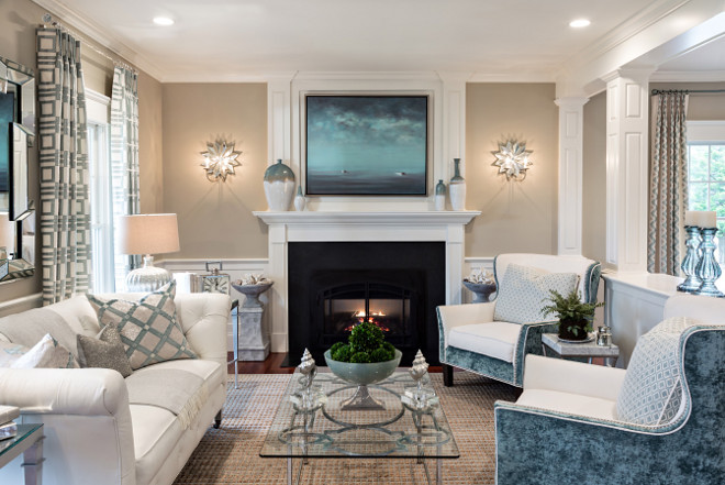 Beige Living Room with coastal white and blue decor. Beige Living Room with coastal white and blue decor ideas #BeigeLivingRoom #LivingRoom #coastal #whiteandbluedecor Casabella Interiors