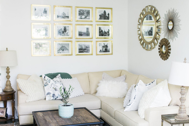 Benjamin Moore Winter White. The wall color is Benjamin Moore Winter White. Before we had babies my husband and I loved to travel. The gallery wall are black and white photos from our travels framed in Anthropologie's Minimalist Gallery Frame. #BenjaminMooreWinterWhite Home Bunch Beautiful Homes of Instagram @finding__lovely
