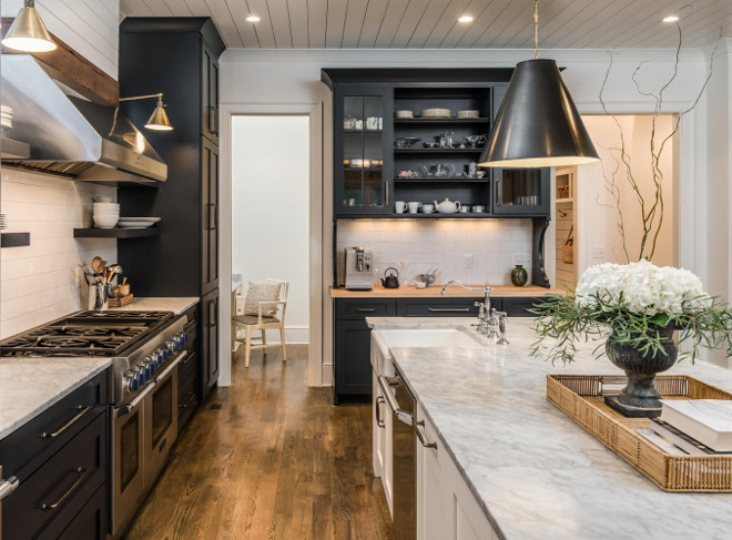 Black and White Farmhouse Kitchen with shiplap backsplash and shiplap ceiling. Black and White Farmhouse Kitchen with shiplap backsplash and shiplap ceiling ideas. Black and White Farmhouse Kitchen with shiplap backsplash and shiplap ceiling #BlackandWhiteFarmhouseKitchen #FarmhouseKitchen #BlackandWhiteKitchen #Shiplap #backsplash Domaine Development