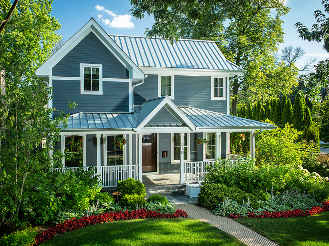 Blue Gray Exterior Paint Color. Boothbay Blue by Jame Hardie. That is a prefinished siding from Jame Hardie. It is cement fiberboard, and the color is 'Boothbay Blue'. #BlueGrayExterior #Exterior #PaintColor #BoothbayBlueJameHardie Kipnis Architecture + Planning