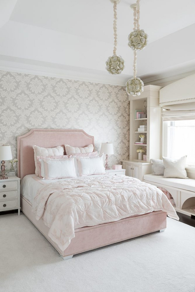 Blush Pink Bedroom. Blush Pink Bedroom. This girl's bedroom features three staggered flower chandeliers and a blush pink velvet bed dressed in pink shams and soft pink ruched duvet. Blush Pink #BlushPink Tara Fingold Interiors