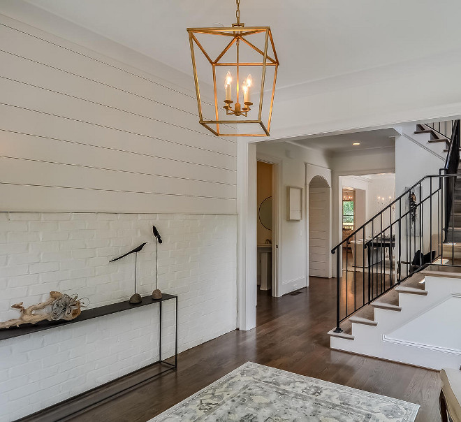 Brick and Shiplap Wall Treatment. Modern farmhouse foyer with painted white brick and shiplap accent wall. White Brick and Shiplap Wall Treatment. Foyer White Brick and Shiplap Wall Treatment #Brick #Shiplap #WhiteBrick #WhiteShiplap #ShiplapwallTreatment #brickwallshiplap #Foyerwalltreatment #WhiteBrickfoyer #brickfoyer #Shiplapfoyer Domaine Development