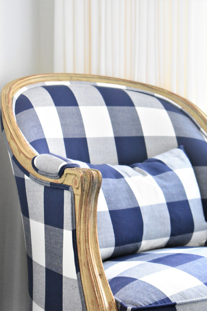 Buffalo check fabric chair. Chair is Ballard Designs Regency in custom Clark and Clark buffalo check fabric. Chair buffalo check fabric #buffalocheck #buffalocheckfabric #buffalocheckchair Kate Abt Design