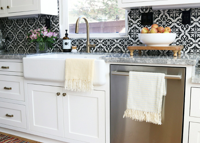 Cement Tile Backsplash. Cement Tile Kitchen Backsplash, Black and White Cement Tile Backsplash #BlackandWhite #CementTileBacksplash #CementTile #Backsplash Jordan from @house.becomes.home